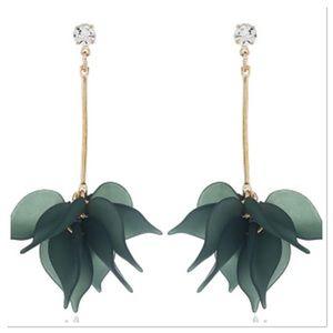 Flower Petal Drop Earrings-Green
